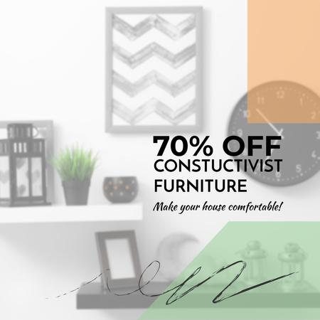 Furniture sale with Modern Interior decor Instagram AD – шаблон для дизайну