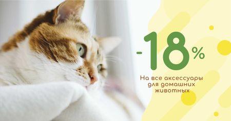 Pet Accessories Discount Offer with Cute Cat Facebook AD – шаблон для дизайна