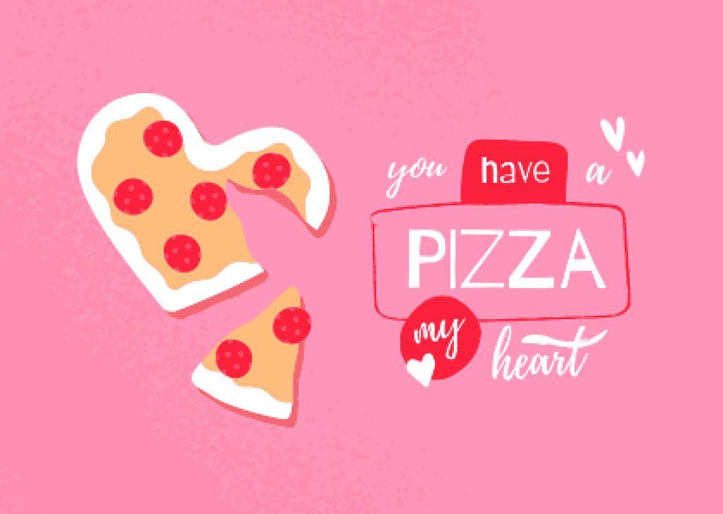 Cute Pizza in Heart Shape Card – шаблон для дизайна