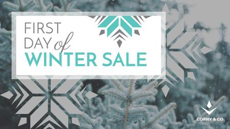 Plantilla de diseño de First Winter Day Sale with Tree Covered in Snow Youtube