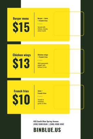Template di design Fast Food menu Offer Pinterest