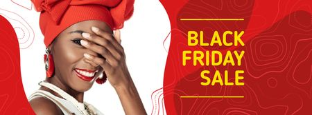 Black Friday Sale with Attractive Woman Facebook coverデザインテンプレート
