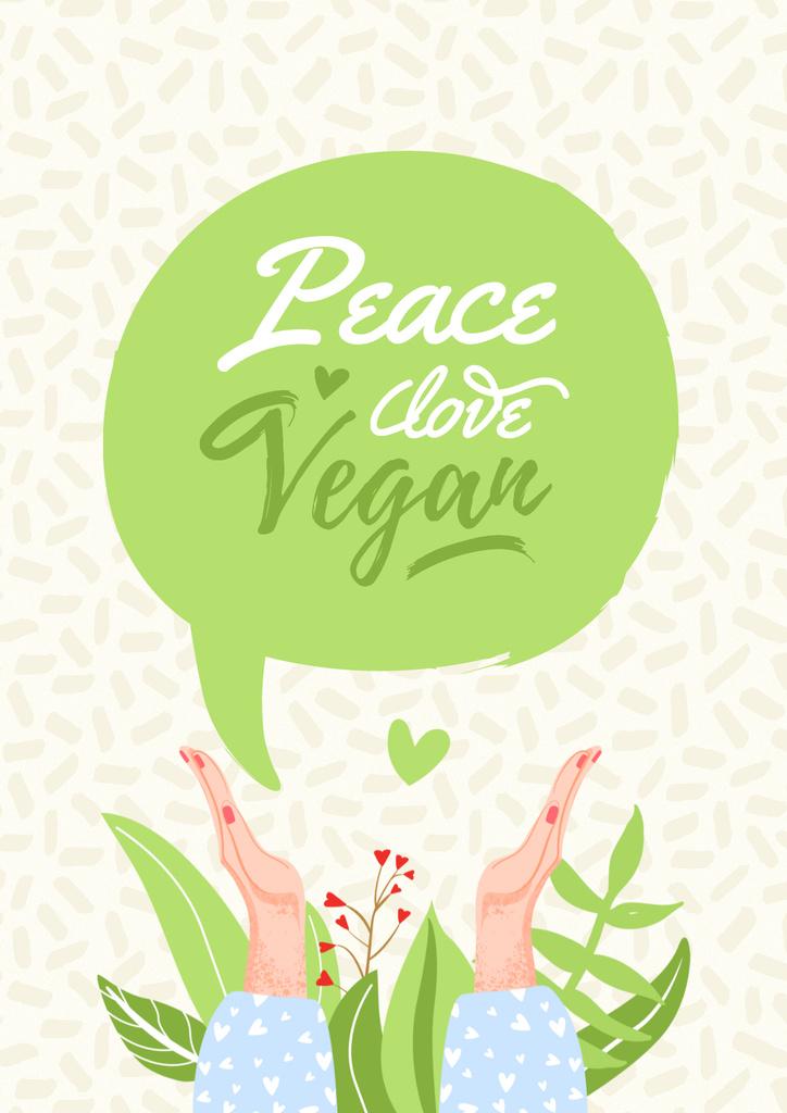 Designvorlage Vegan Lifestyle Concept with Green Plant für Poster