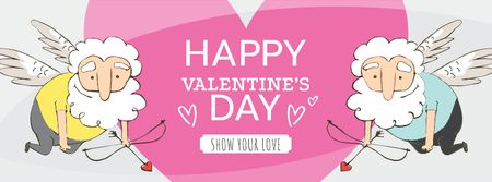 Valentine's Day with funny Elder Cupids Facebook cover Tasarım Şablonu