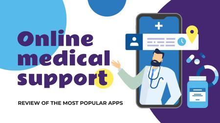 Online Medical Support Doctor on Phone Screen Youtube Thumbnail Modelo de Design