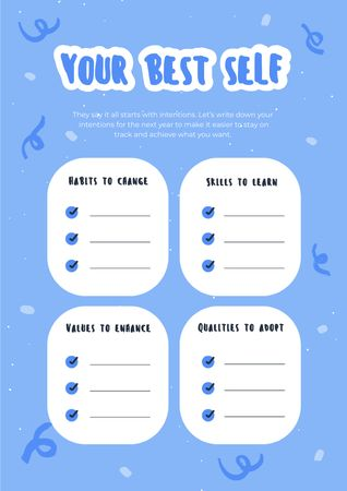 Plantilla de diseño de New Year intentions list Schedule Planner