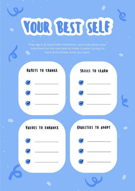 Plantilla de diseño de New Year intentions list Schedule Planner
