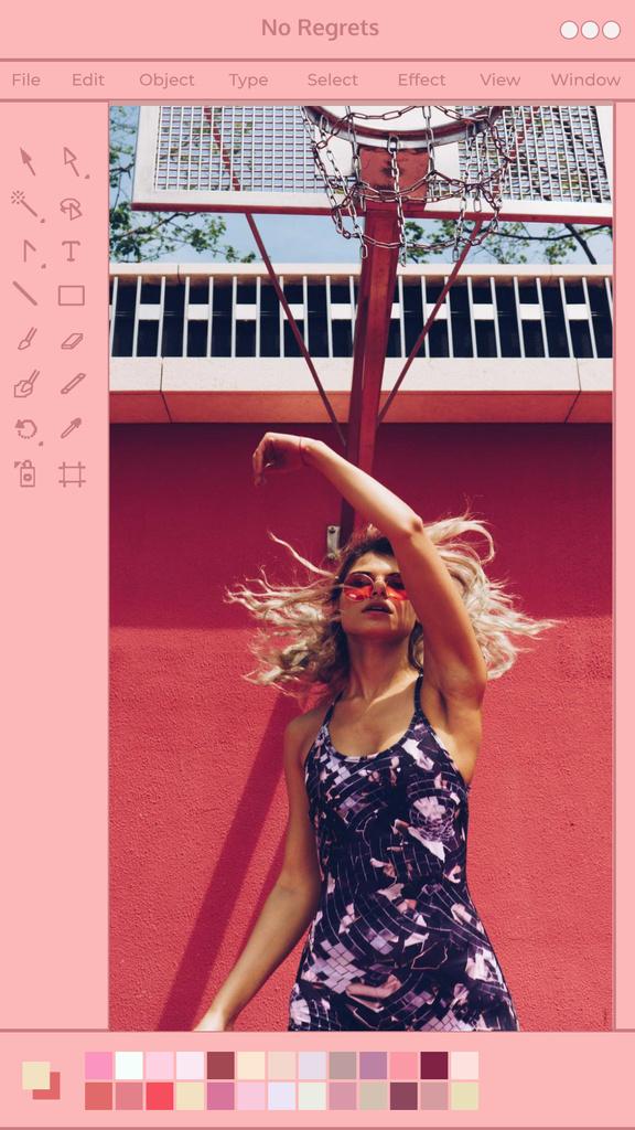 Plantilla de diseño de Beautiful Young Woman posing in City Instagram Story