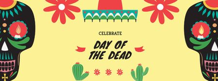 Day of the Dead Celebration Announcement Facebook coverデザインテンプレート
