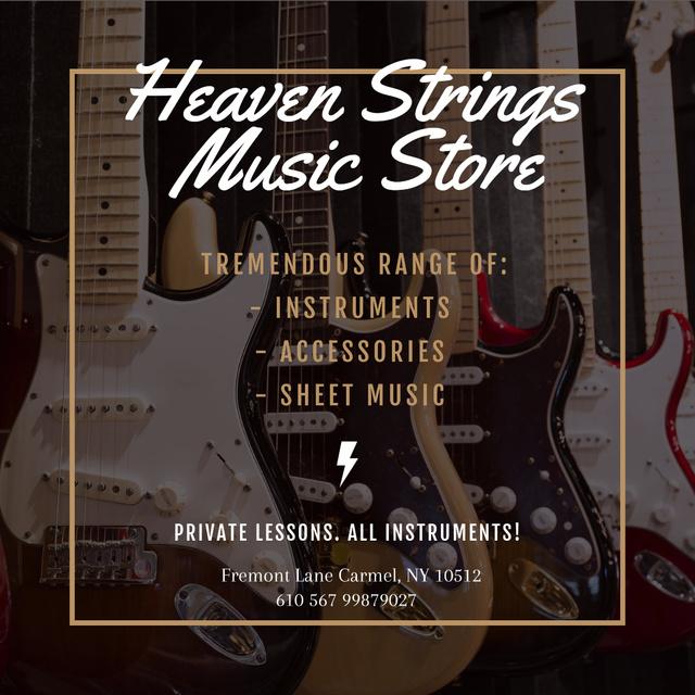Guitars in Music Store Instagram AD Tasarım Şablonu