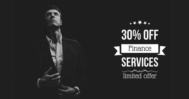 Ontwerpsjabloon van Facebook AD van Finance Services Discount Offer with Businessman
