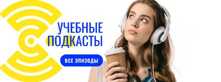 Education Podcast Ad Woman in Headphones Facebook cover – шаблон для дизайна