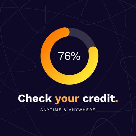 Ontwerpsjabloon van Instagram van Credit Score application offer