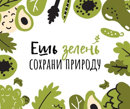 Green Lifestyle Concept in Fruits and Leaves frame Facebook – шаблон для дизайна