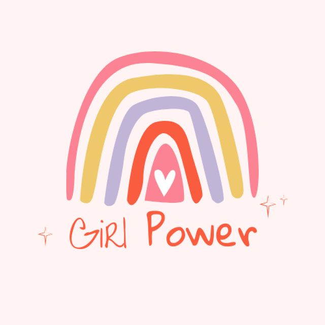 Plantilla de diseño de Girl Power Inspiration with Cute Rainbow Logo