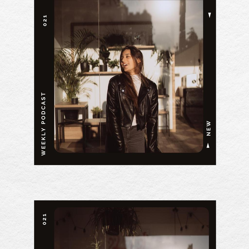 Woman wearing Biker Jacket Instagramデザインテンプレート