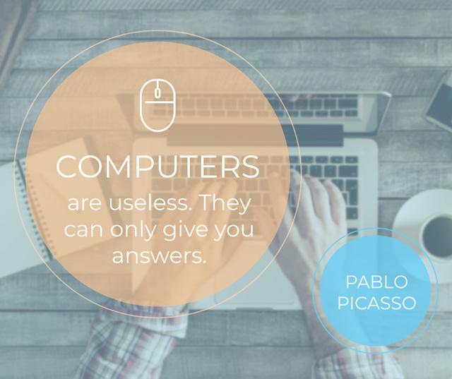 Computers Quote Hands Typing on Laptop Facebook Modelo de Design
