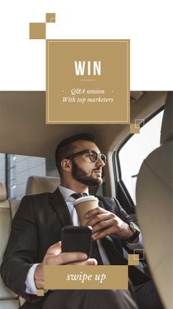 Ontwerpsjabloon van Instagram Story van Businessman in Car with Coffee and smartphone