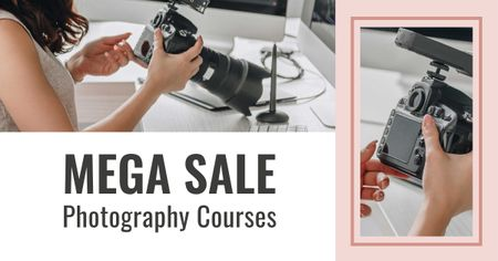Photography Courses Offer with Woman holding Camera Facebook AD Modelo de Design