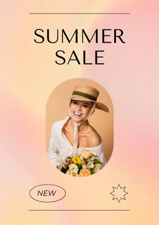 Summer Sale Ad with Stylish Female Bag Poster Tasarım Şablonu