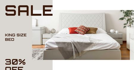 Modèle de visuel Comfortable Bedroom in white colors - Facebook AD