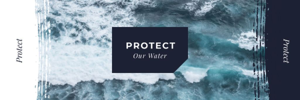Ecology Quote with Stormy Sea Waves — Crea un design