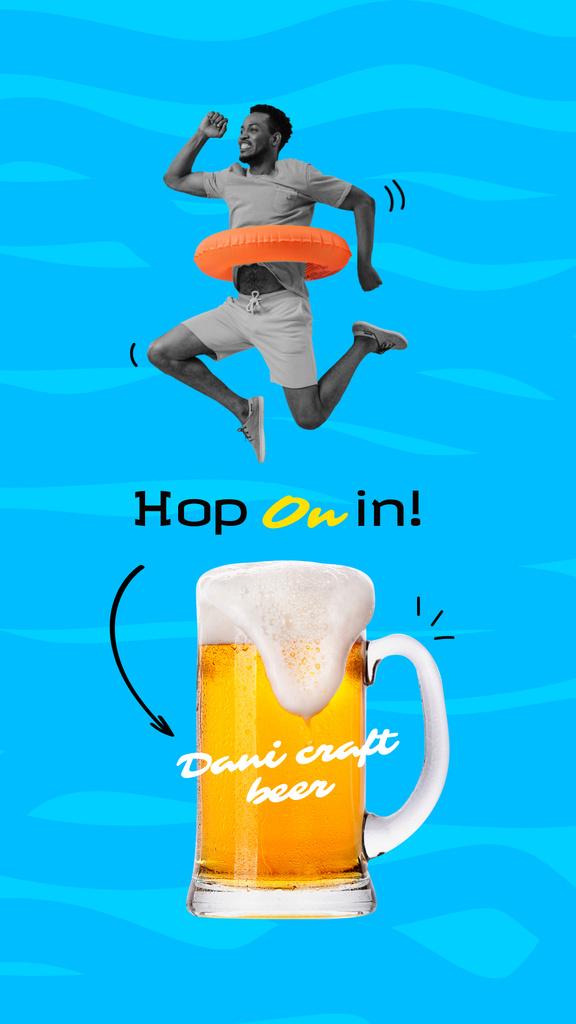 Plantilla de diseño de Funny Man jumping over Glass of Beer Instagram Story