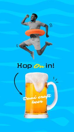 Ontwerpsjabloon van Instagram Story van Funny Man jumping over Glass of Beer