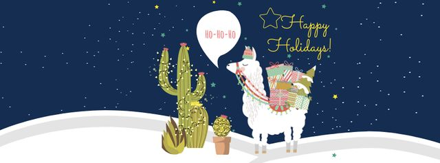 Happy Winter Holidays Greeting with Cute Lama Facebook cover Modelo de Design
