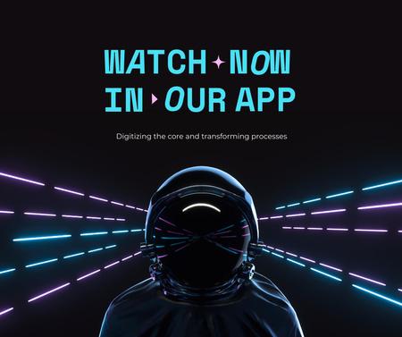 Mobile App Ad with Futuristic Astronaut Facebook Modelo de Design