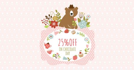 Plantilla de diseño de Chocolate Day Discount with Cute Bear Facebook AD