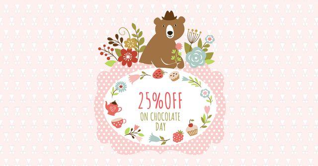 Template di design Chocolate Day Discount with Cute Bear Facebook AD