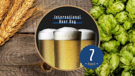Beer Day Announcement with Hop and Wheat Ears FB event cover – шаблон для дизайну