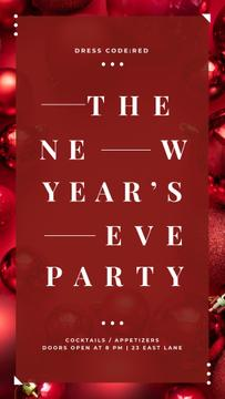 New Year Party Invitation Shiny Red Baubles