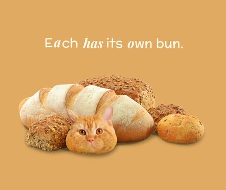 Plantilla de diseño de Funny Cat with Fresh Buns and Bread Facebook