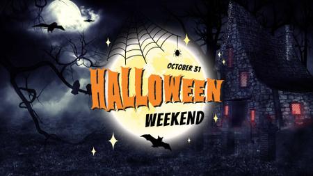 Ontwerpsjabloon van FB event cover van Halloween Weekend Announcement with Scary House