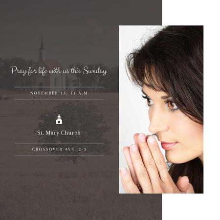 Church invitation with Woman Praying Instagram AD Modelo de Design