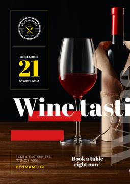 Wine Tasting Event with Red Wine in Glass and Bottle