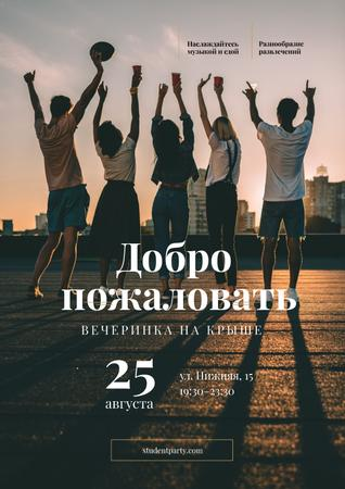 Young people on roof Poster – шаблон для дизайна