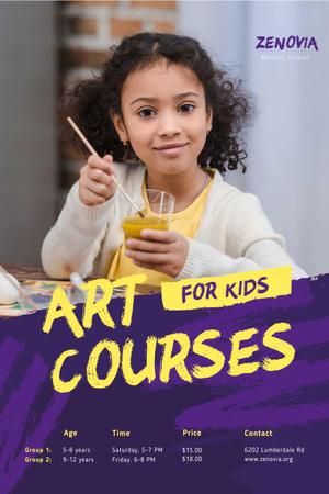 Painting Courses with Girl Holding Brush Pinterest Modelo de Design