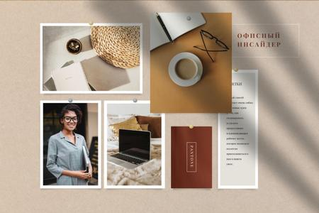 Stylish Girl at her Workplace Mood Board – шаблон для дизайна