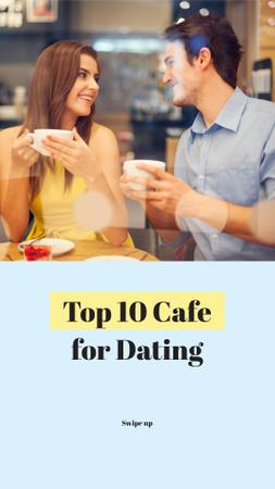 Cute Couple on Date in Cafe Instagram Story Design Template