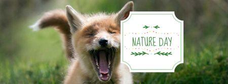 Modèle de visuel Nature Day Announcement with Cute Fox - Facebook cover