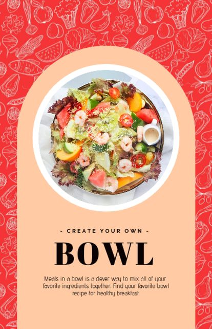Tasty Dish in Bowl Recipe Cardデザインテンプレート