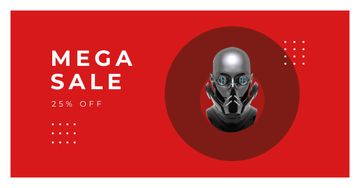 Sale Offer with Futuristic Robot