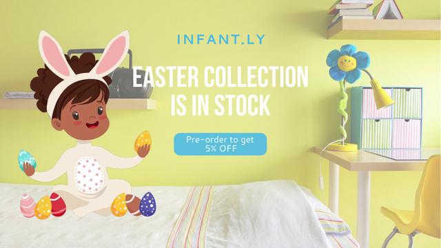 Plantilla de diseño de Kid in Easter bunny costume Full HD video