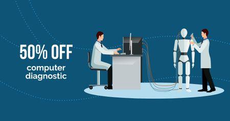 Template di design Computer Diagnostic Discount Offer Facebook AD