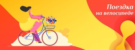 Girl riding with flowers on Bike to work Day Facebook Video cover – шаблон для дизайна