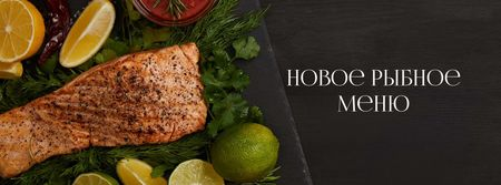 Seafood Offer raw Salmon piece Facebook cover – шаблон для дизайна