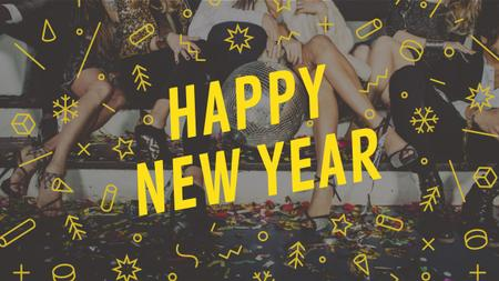 Modèle de visuel New Year Party Invitation with People Celebrating - Youtube
